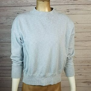 Blue Madewell Mockneck Relaxed Crew Sweater
